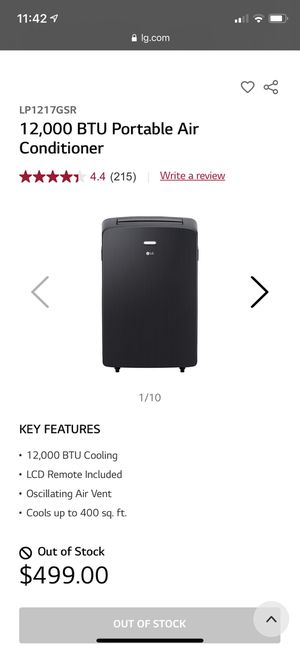 Used Portable air conditioner LG1217gsr great condition for Sale in Millbrae, CA