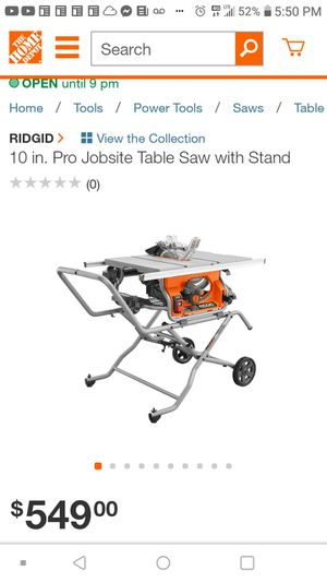 """Ridgid 10"""" table saw w/ stand like new for Sale in Sheffield Lake, OH"""