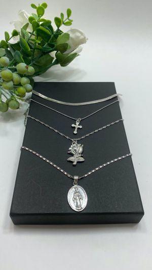Vintage Rose Flower Cross Christian Portrait Long Pendant Necklace, Silver Color for Sale in Irvine, CA