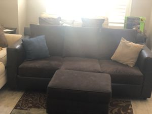 Leather and Microfiber Sofa Loveseat set with Ottoman for Sale in March Air Reserve Base, CA