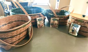 """LONGABERGER """"traditions """"collection set of signed baskets. (5) for Sale in Tacoma, WA"""