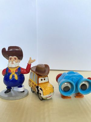 Vintage Toy Story collectibles. Woody in Cars version limited, Stinky Pete the Prospector, and little Lenny. for Sale in El Paso, TX