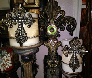 4-Piece Old World Cross Candles and Holders Set for Sale in Fort Worth, TX