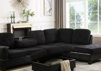 Park Place Sectional Sofa with Ottoman Black S888 VENDORNEW ERA for Sale in Houston,  TX