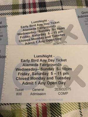 2 tickets to LumiNight latern festival alameda county fairgrounds for Sale in Concord, CA