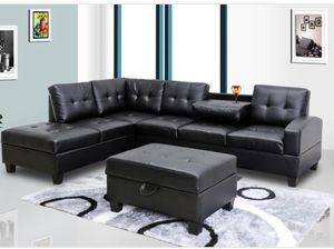 Pablo Black Sectional With Ottoman for Sale in Rockville, MD