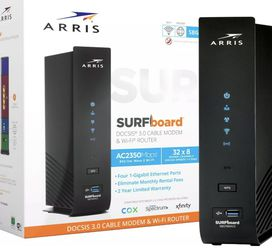 ARRIS - SURFboard Dual-Band AC2350 with 32 x 8 DOCSIS 3.0 Cable Modem and wifi Router- Black for Sale in La Habra Heights,  CA