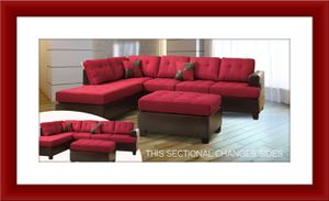Red sectional brand new free shipping and ottoman for Sale in Fairfax, VA