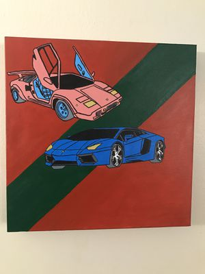Hand Painted Canvas Of Two Amazing Cars for Sale in Secaucus, NJ