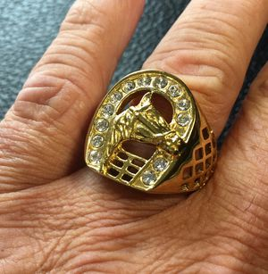 Vintage Lucky Horseshoe 3D Style Stainless Steel 18k GP Ring for Sale in Cranston, RI