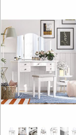 Vanity Set with Tri-Fold Mirror, Dressing Table with 5 Drawers, Desk with 1 Stool, Makeup and Cosmetics Storage, Multifunctional, Easy to Assemble, W for Sale in Corona, CA