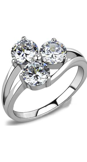 Stainless Steel Three-Stone Wedding Engagement Anniversary Ring Size4-12 for Sale in Los Angeles, CA