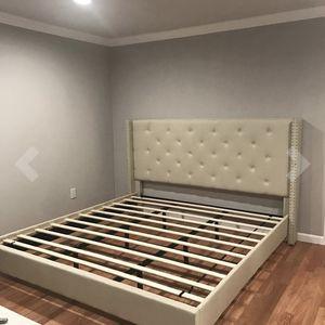 King Bed Frame Beige Tuffed Master for Sale in Lawrenceville, GA
