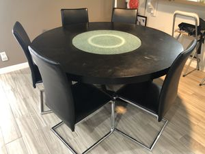 Solid Wood Dining Table & 5 Chairs w/ Lazy Susan- Black for Sale in Los Angeles, CA
