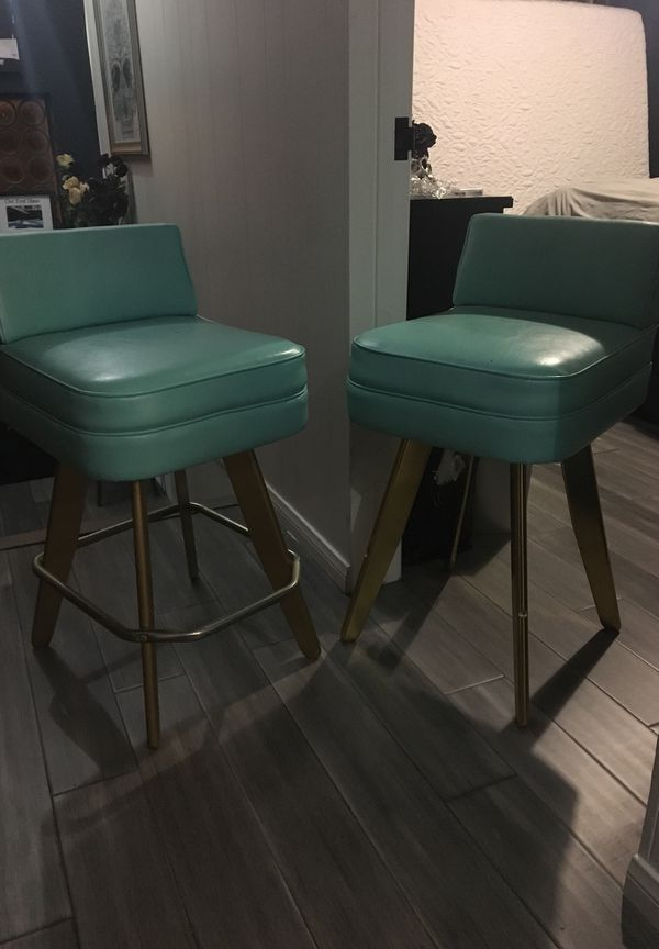 Set of 2 Sexy 60s bar stools retro teal & gold
