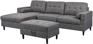 Dark Gray Upholstered Chaise Sectional Sofa Set with Storage Ottoman for Sale in Riverside, CA