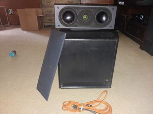 Acoustic Research Center channel and 12 inch powered subwoofer for Sale in Shelby Charter Township, MI