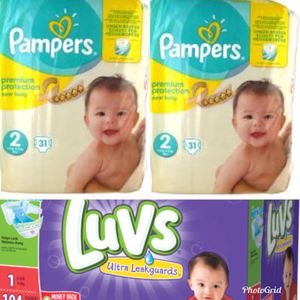 Size 2 pampers & 1 Case size 1 luvs for Sale in Brooklyn Park, MD