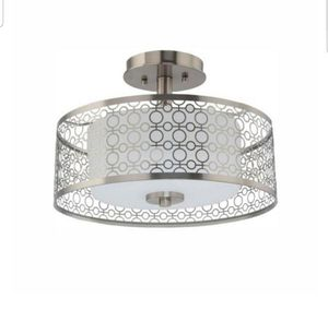 Home Decorators 14 in. 1-Light Brushed Nickel Integrated LED Semi-Flush Mount with Circular Patterned Outer Shade and Glass Inner Shade, Brand New, for Sale in Palatine, IL