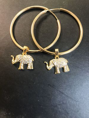 New arrival beautiful hoops earring with pave cz stones elephants 🐘 charms best quality ❤️❤️❤️14k gold filled hypoallergenic (hoop Available in diffe for Sale in Richmond, VA
