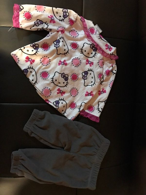 Toddler's gray pants & hello kitty pj top