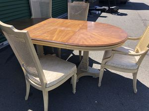 Table w leaf and wicker chairs for Sale in Berryville, VA