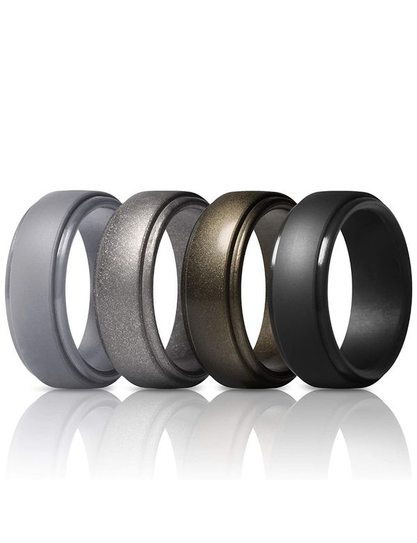 Rubber Wedding Bands 10mm Wide - Size 10.5/11