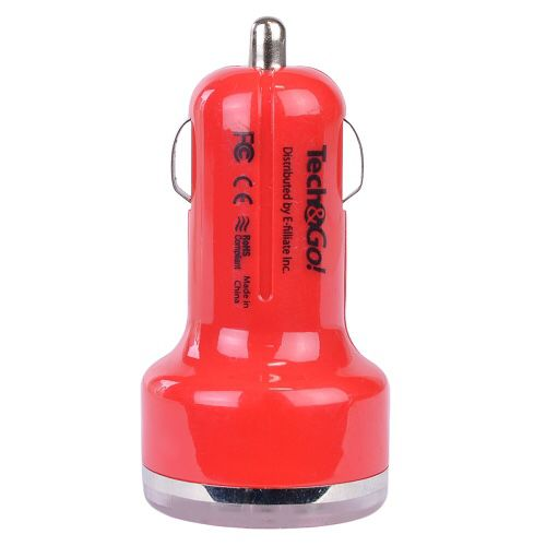 Tech & Go 3.1A Dual Port USB Car Charger (Red)