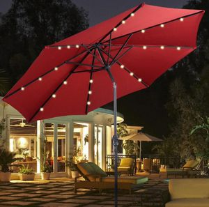 Brand new in box 10 feet 32 Solar LED Lights Patio Outdoor Umbrella Tilt Adjustable Crank Open UV Protection Water Resistant for Sale in Whittier, CA