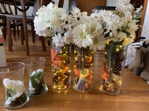 Vases with flowers and lights for Sale in Newport News, VA