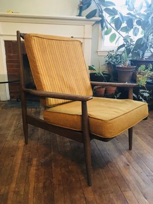 Restoration Project. Danish modern lounge chair. See details for Sale in Berea, OH
