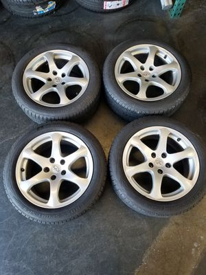 """4 used 17"""" original stock infiniti g37 rims with almost new tires. 5×114.3. 225 50 17 nankang tires. Great condition. for Sale in Sacramento, CA"""