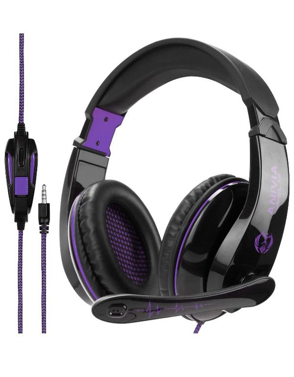 Gaming Headset PS4 Xbox One X, Anivia A9S Wired Over Ear Headphone with Mic for PC MAC Laptop Mobile iPad Nintendo Switch Games(Black Purple)