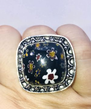 """FLOWER 🌸 POWER!"" Pretty Dichroic glass flower design large square stone & .925 stamped sterling silver ring size 8 NEW! for Sale in Carrollton, TX"