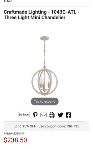 New 3light 15 inch mini chandelier for Sale in San Gabriel, CA