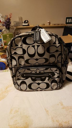 Authentic BLACK N SILVER COACH BACKPACK for Sale in Boston, MA