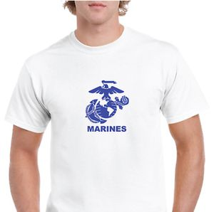 USMC White Eagle Anchor Globe Marines US Military Logo Blue Short Sleeve T-shirt for Sale for sale  Las Vegas, NV