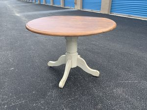 Solid Wooden Rustic farmhouse style drop leaf round top kitchen table! Very sturdy! Dimensions: 42in diameter 30in tall With leaf down 42x28x30in for Sale in Royal Palm Beach, FL