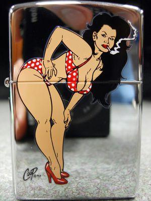 Zippo Coop Polka Dot Bikini Girl Smoking Devil Rockabilly Lighter 2004 NEW Hot Rod for Sale in San Fernando, CA