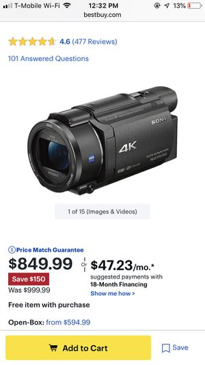 Sony Fdr-Ax53,4K HD video camera for Sale in El Cajon, CA