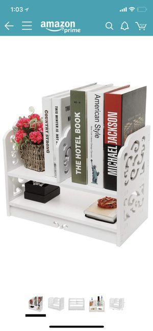 White Wood Openwork Freestanding Book Shelf/Desk Top Organization Caddy/Stationary Storage for Sale in Portland, OR
