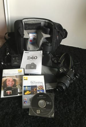 Nikon D40 Camera, Camera Bag, Extra Lenses, Filters, and camera stand. Camera has all original pieces. Software for Sale in Phoenix, AZ
