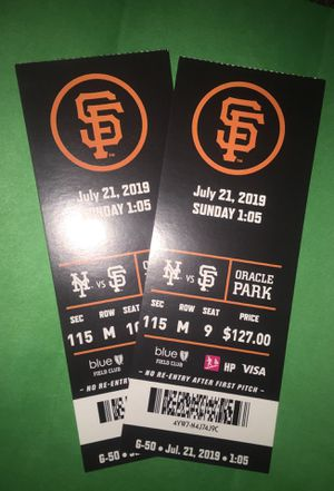 SF GIANTS GAME 7/21 for Sale in San Jose, CA