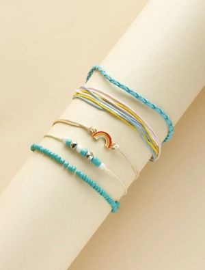 Beautiful NEW 5 piece rainbow charm bracelet set for Sale in San Diego, CA