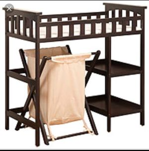Cherry wood changing table with hamper for Sale in Tampa, FL