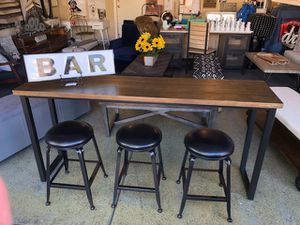 Brand New Sofa Table/Bar with 3 Stools (Counter Height Table: 72x17x34 Counter Height Stool: 14x14x24) for Sale in North Las Vegas, NV