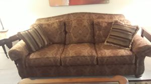 Elegant Classic Sofa and Loveseat - & 2 matching hardwood chairs with cushions New Condition for Sale in Boca Raton, FL