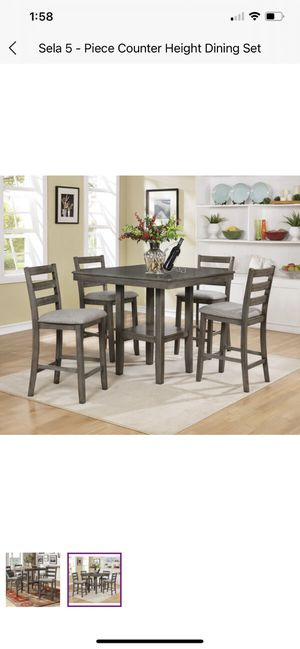 5 piece dining table - grey wood for Sale in Burbank, CA