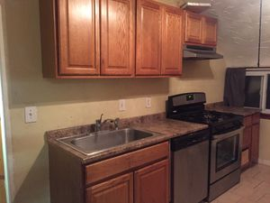 Full Kitchen with Wooden Cabinets, Double Pantry, Sink, Counter, and Vent for Sale in Cleveland, OH
