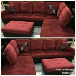 Brand New Red Microfiber Sectional With Storage Ottoman for Sale in Spanaway,  WA